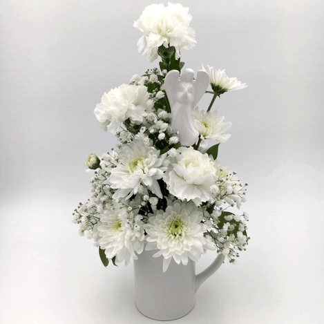 Mug Arrangement with White Flowers and Angel